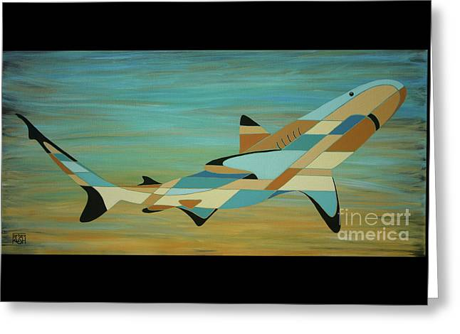 Into The Blue Shark Painting Greeting Card