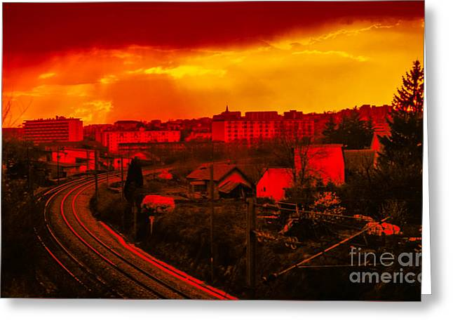 Into The City At Sunset Greeting Card by Gregory Schultz