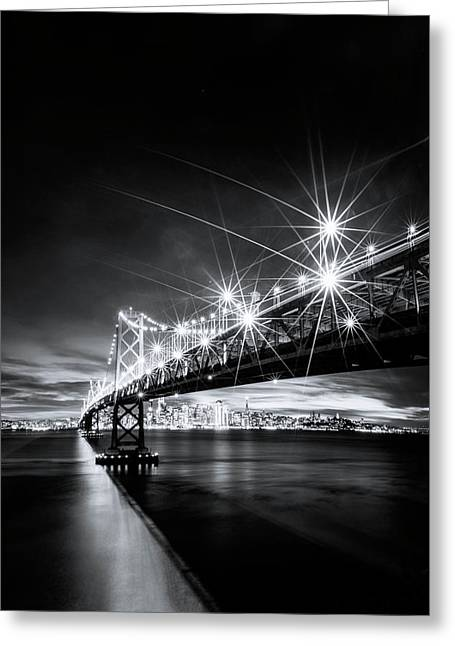 Into The City, Black And White Greeting Card by Vincent James