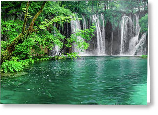 Into The Waterfalls - Plitvice Lakes National Park Croatia Greeting Card