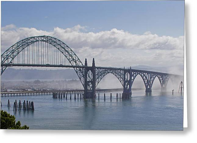 Yaquina Bay Bridge Greeting Cards - Into the Fog at Newport Greeting Card by Mick Anderson