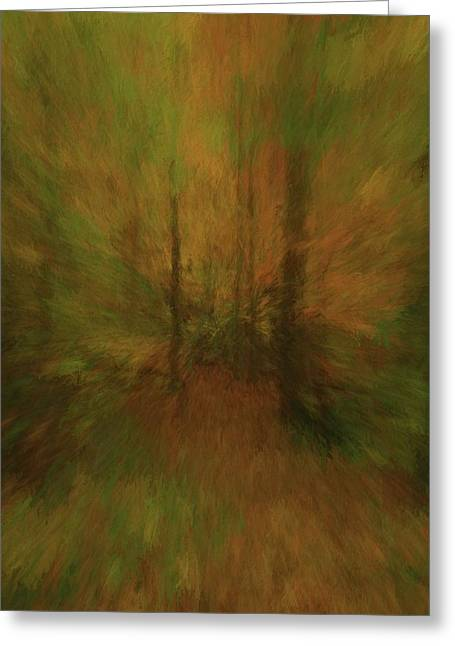 Into The Forest Autumn Abstract Greeting Card