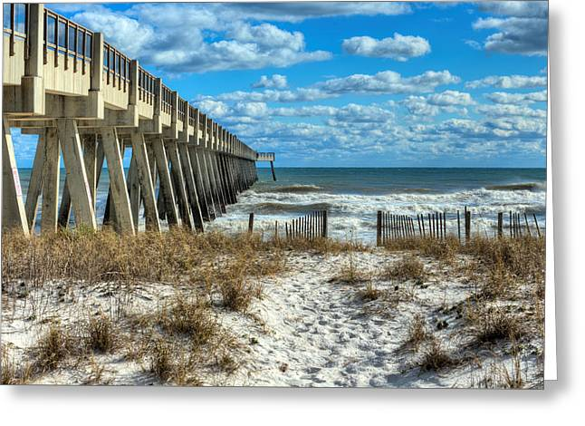 Into The Gulf At Navarre Beach Greeting Card by JC Findley