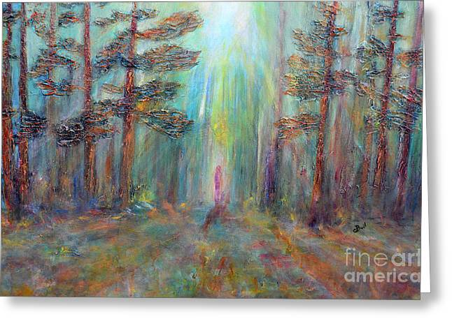 Into The Light Greeting Card by Claire Bull