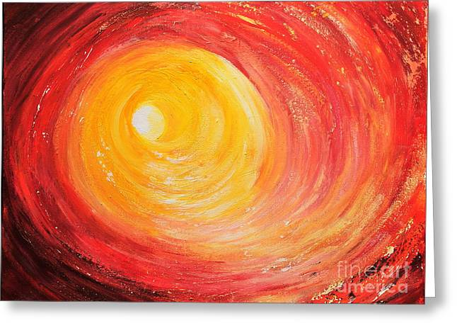 Greeting Card featuring the painting Into The Light by Teresa Wegrzyn