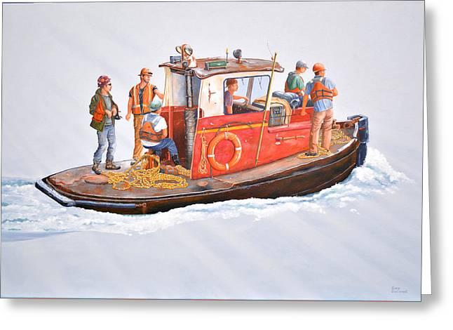Greeting Card featuring the painting Into The Mist-the Crew Boat by Gary Giacomelli