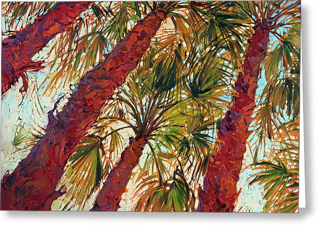 Greeting Card featuring the painting Into The Palms - Diptych Left by Erin Hanson