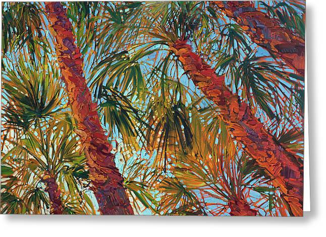 Greeting Card featuring the painting Into The Palms - Diptych Right Panel by Erin Hanson