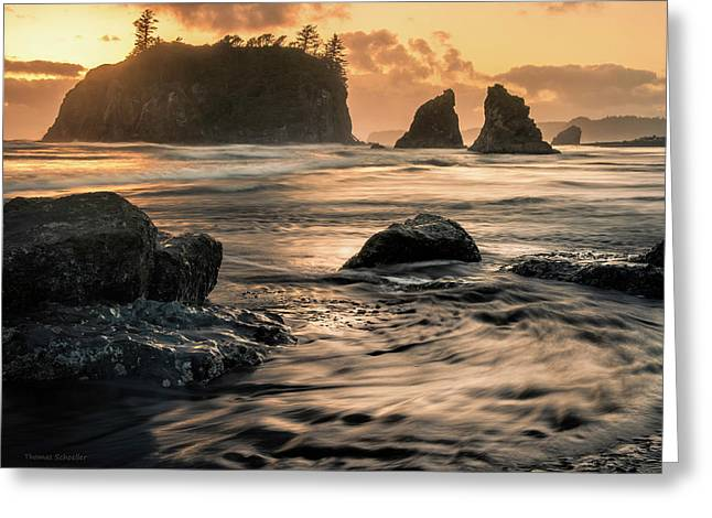 Into The Sea - Ruby Beach Greeting Card by T-S Fine Art Landscape Photography