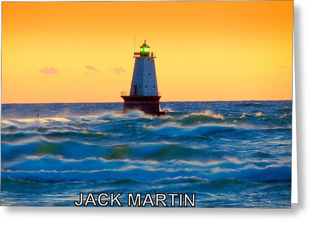 Into The Storm Ludington Michigan Waves And Sunset Skies Greeting Card by Jack Martin