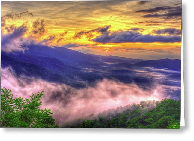 Into The Sun Blue Ridge Mountain Parkway Sunrise Art Greeting Card by Reid Callaway