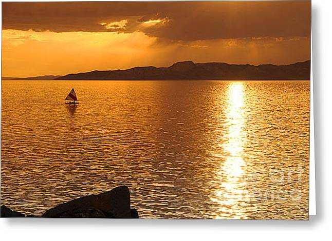 Into The Sunset Greeting Card by Dennis Hammer