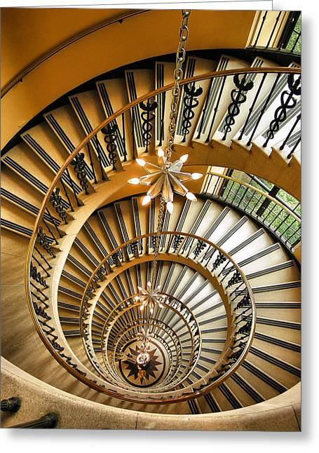 Spiral Staircase Photographs Greeting Cards - Into the Vortex Greeting Card by Steven Ainsworth