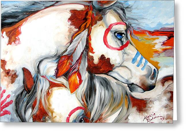 Into The West War Ponies Greeting Card