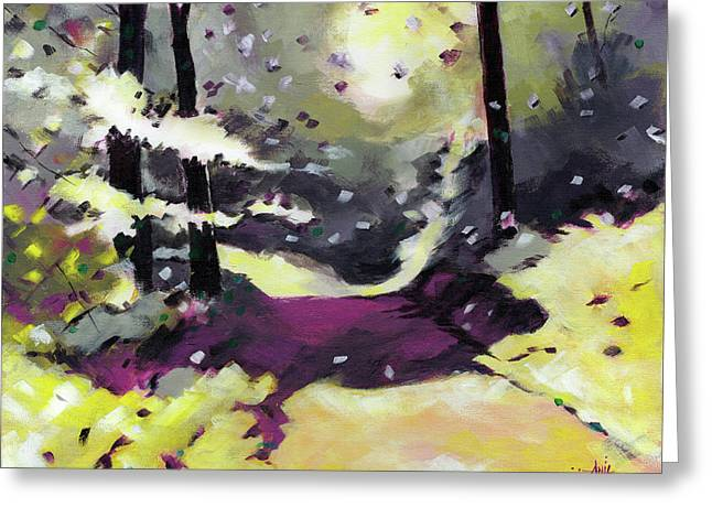 Greeting Card featuring the painting Into The Woods 2 by Anil Nene