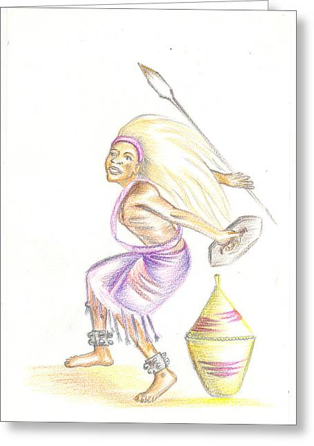 Greeting Card featuring the painting Intore Dance 2 From Rwanda by Emmanuel Baliyanga