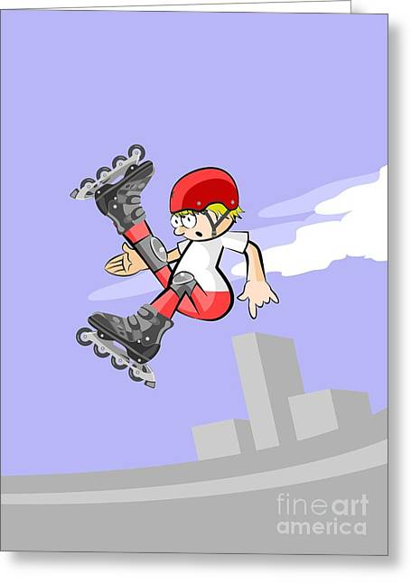 Intrepid Boy Doing Pirouettes In The Air With His Roller Skates Online Greeting Card