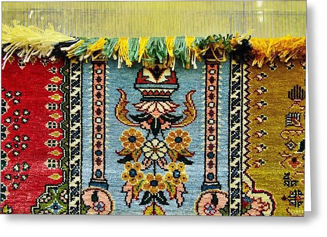 Intricate Silk Weaving At The Carpet Cooperative In Ortahisar, Cappadocia, Turkey Greeting Card by David Lyons