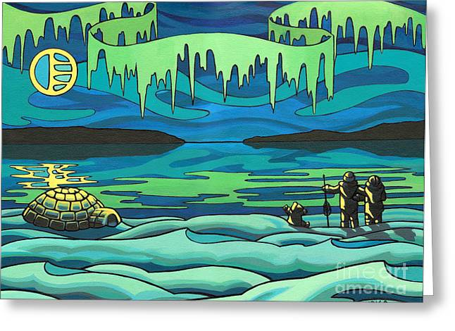 Best Sellers -  - First Love Greeting Cards - Inuit Love Arctic Landscape Painting Greeting Card by Kim Hunter