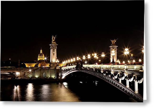 Greeting Card featuring the photograph Invalides At Night 1 by Andrew Fare