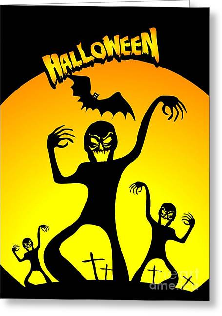 Invasion Of Murderous Zombies In Halloween Greeting Card