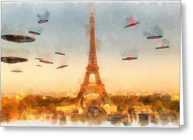 Invasion Paris Greeting Card by Esoterica Art Agency