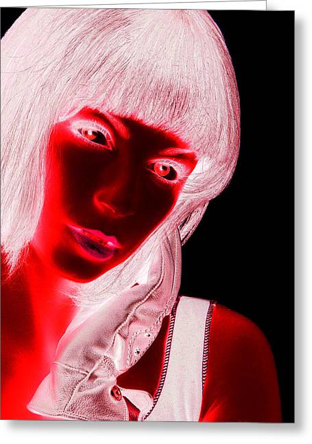 Inverted Realities - Red  Greeting Card by Serge Averbukh