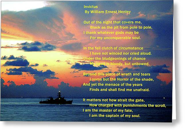 Invictus By William Ernest Henley Greeting Card