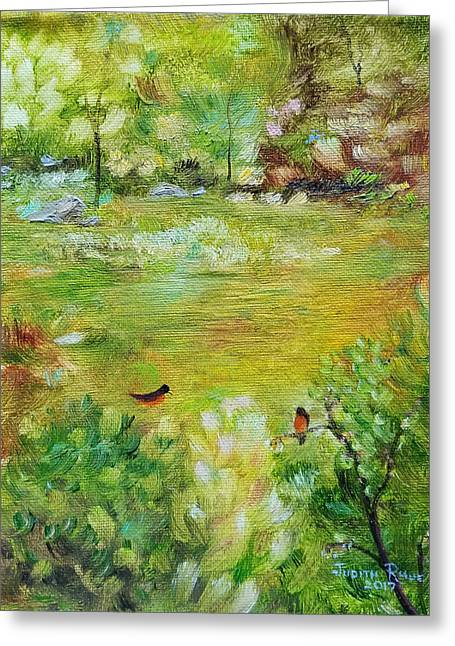 Greeting Card featuring the painting Invincible Spring by Judith Rhue