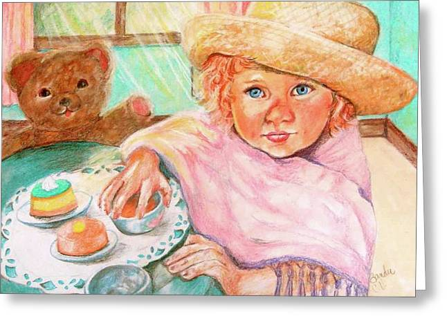 Child Toy Pastels Greeting Cards - Invitation Only Tea Party Greeting Card by Sandra Valentini