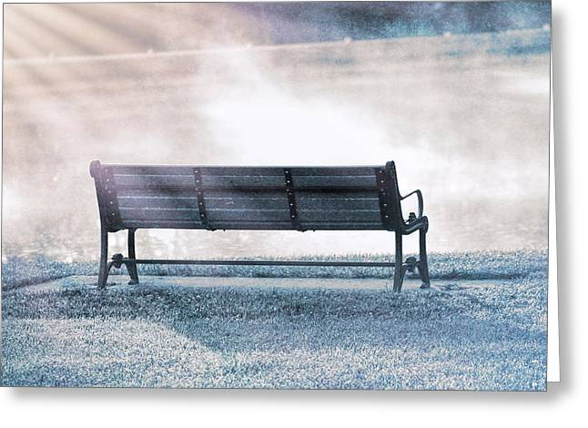 Inviting Morning Bench Greeting Card by Dan Sproul