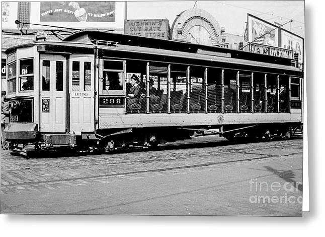 Greeting Card featuring the photograph Inwood Crosstown Trolley  by Cole Thompson