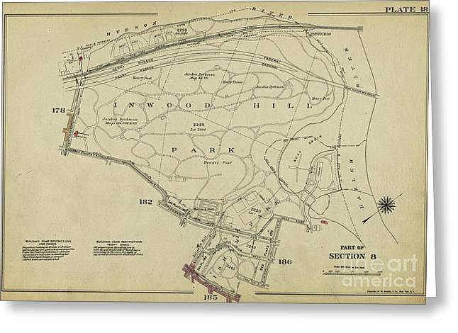Greeting Card featuring the photograph Inwood Hill Park 1950's Map by Cole Thompson