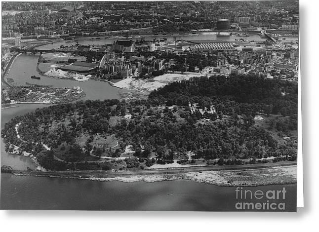 Greeting Card featuring the photograph Inwood Hill Park Aerial, 1935 by Cole Thompson
