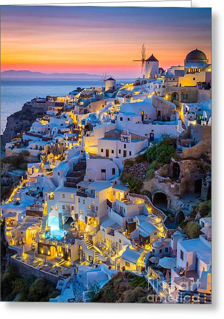 Oia Sunset Greeting Card by Inge Johnsson