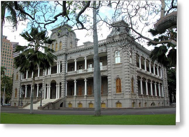 Iolani Palace, Honolulu, Hawaii Greeting Card by Mark Czerniec