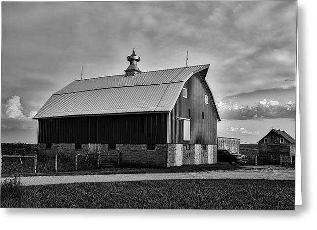 Iowa Farm At Sunset Greeting Card by L O C