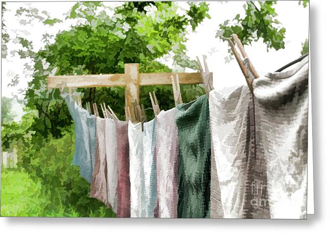 Greeting Card featuring the photograph Iowa Farm Laundry Day  by Wilma Birdwell