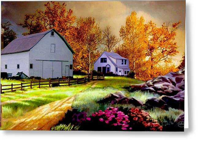 Iowa Farm Greeting Card by Ron Chambers
