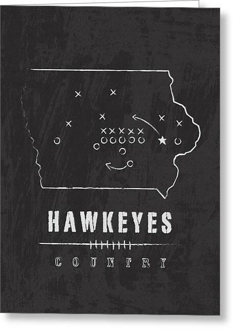 Iowa Hawkeyes / Ncaa College Football Art / Iowa City Greeting Card by Damon Gray