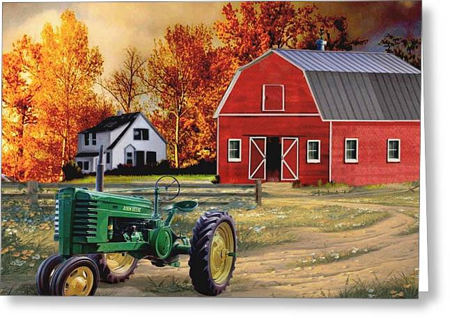 Iowa John Deere Greeting Card by Ron Chambers