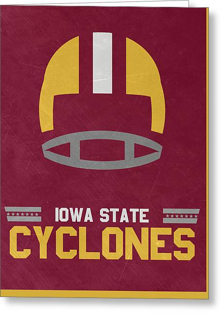 Iowa State Cyclones Vintage Football Art Greeting Card by Joe Hamilton