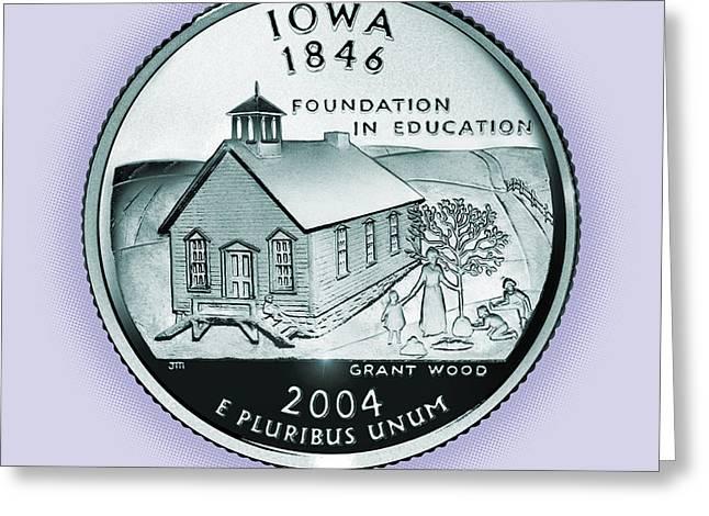 Iowa State Quarter - Portrait Coin 29 Greeting Card