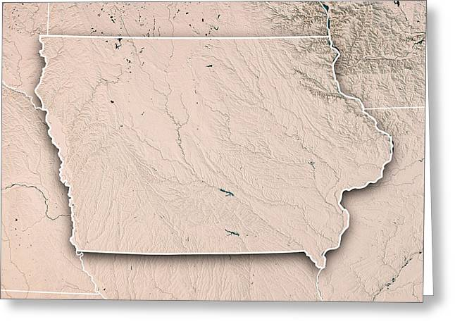 Iowa State Usa 3d Render Topographic Map Neutral Border Greeting Card