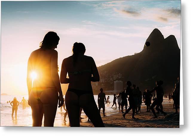 Ipanema, Rio De Janeiro, Brazil At Sunset Greeting Card