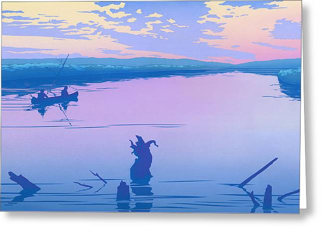 iPhone - Galaxy Case - Canoeing The River Back To Camp At Sunset Landscape Abstract  Greeting Card by Walt Curlee
