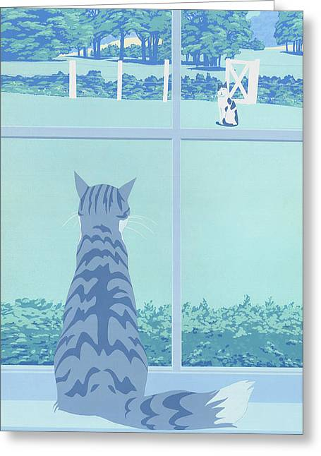 iPhone Galaxy Case -  Cat Staring Out Window - stylized retro pop art nouveau 1980s landscape scene Greeting Card by Walt Curlee