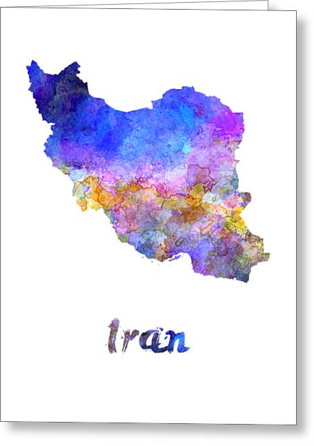Iran In Watercolor Greeting Card