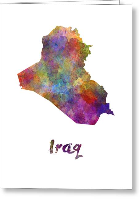 Iraq In Watercolor Greeting Card by Pablo Romero