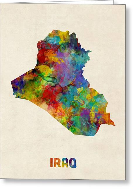 Iraq Watercolor Map Greeting Card